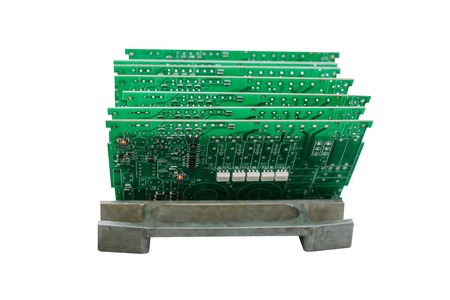 Computer boards in a row isolated on white background.