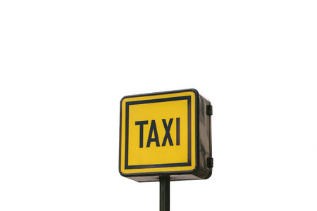 Modern taxi sign isolated on white background. Foto de archivo - 107348626