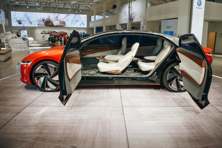 Berlin, August 29, 2018: Interior of the new Volkswagen I.D Vizzion concept sedan electric car presented at the official Auto Show Drive - Volkswagen Group Forum in Berlin. Editorial