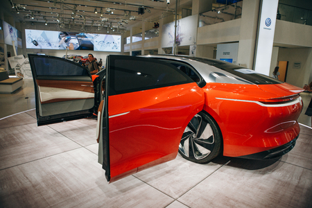 Berlin, August 29, 2018: The new Volkswagen I.D Vizzion concept sedan electric car presented at the official Auto Show Drive - Volkswagen Group Forum in Berlin. Editorial