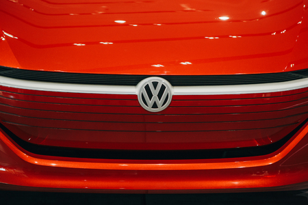 Berlin, August 29, 2018: A close-up of the sign on the new Volkswagen I.D Vizzion concept sedan electric car presented at the official Auto Show Drive - Volkswagen Group Forum in Berlin.