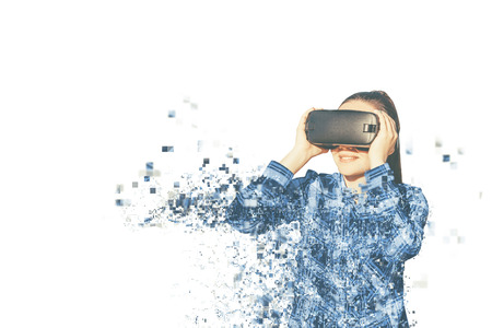 The woman with glasses of virtual reality. Future technology concept. Modern imaging technology. Fragmented by pixels Stock Photo