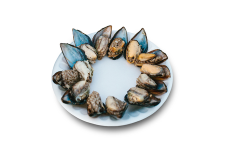 Delicious oyster food with rice on a plate on a white background. Sea food.