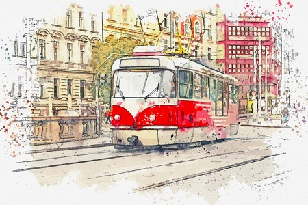 Sketch with watercolor or illustration of a traditional old tram moving down the street in Prague in the Czech Republic.