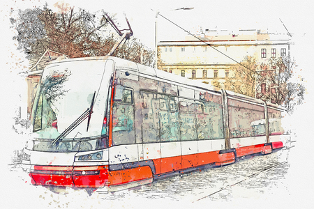 Watercolor sketch or illustration of a tram moving along a street in Prague in the Czech Republic. Stock Photo