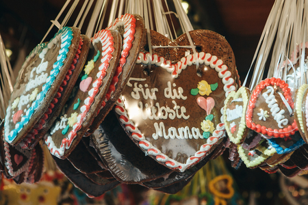 Close-up of traditional German cookies on Christmas market. Archivio Fotografico