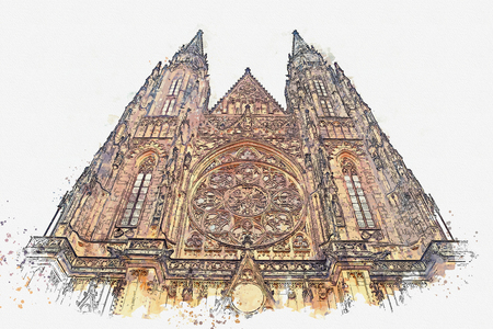 illustration St. Vitus Cathedral in Prague in Czech Republic Banco de Imagens