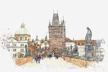 illustration Charles Bridge in Prague in the Czech Republic.