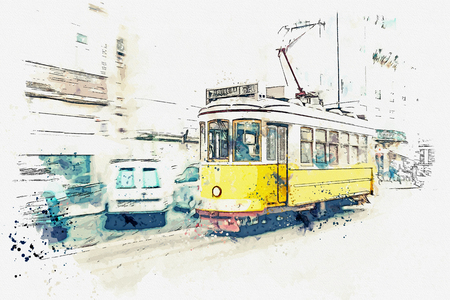 Sketch with watercolor or illustration of a traditional old tram moving down the street in Lisbon in Portugal.