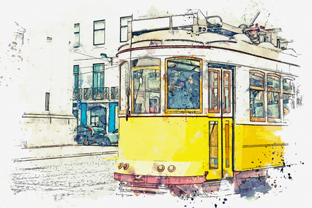 Sketch with watercolor or illustration of a traditional old tram moving down the street in Lisbon in Portugal. Stock Photo