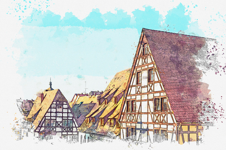 A watercolor sketch or an illustration of traditional Bavarian architecture in Germany. Stock fotó