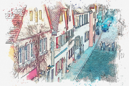 A watercolor sketch or illustration of a beautiful street in Rothenburg ob der Tauber in Germany with beautiful houses in German style.