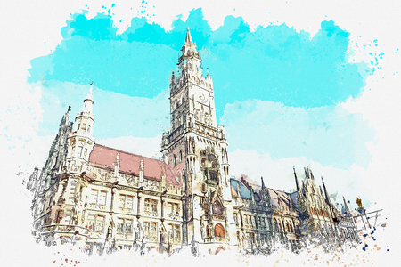 A watercolor sketch or illustration. Town Hall Marienplatz in the central square of Munich. Germany. Stock Photo