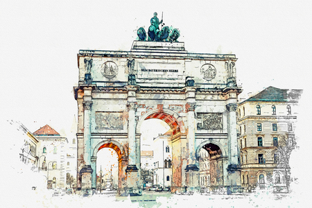 A watercolor sketch or illustration. Victory Gate triumphal arch Siegestor in Munich. Germany.