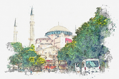 A watercolor sketch or illustration of a beautiful view of the Aya Sofia Cathedral on Sultanahmet Square in Istanbul, Turkey. Stock Photo
