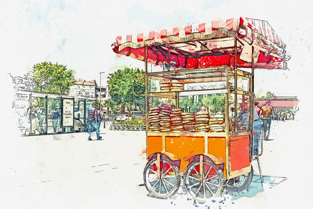 A watercolor sketch or illustration. Sale of a traditional Turkish bagel called Simit. Turkish street food.
