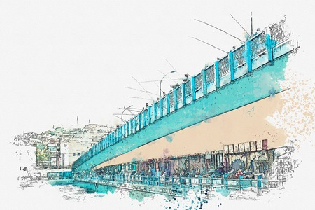 A watercolor sketch or illustration. The Galata Bridge in Istanbul, Turkey. On the bridge fishermen are fishing. Stockfoto