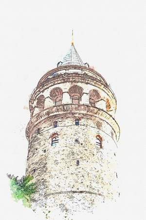 A watercolor sketch or illustration. Galata tower in Istanbul in Turkey. One of the oldest sights of the city.
