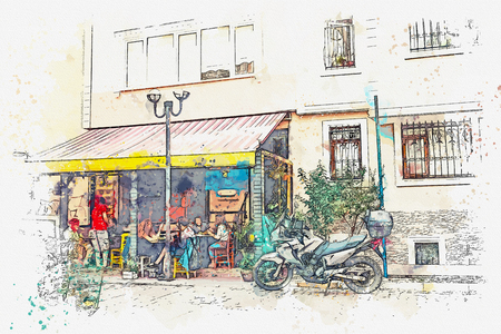 Watercolor sketch or illustration of a street cafe in Istanbul, Turkey.