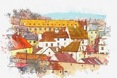 A watercolor sketch or an illustration of the traditional architecture in Cesky Krumlov in the Czech Republic.