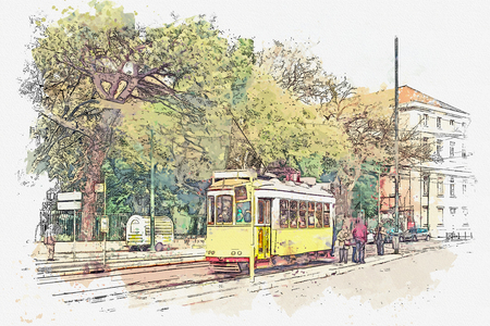 Sketch with watercolor or illustration of a traditional old yellow tram at a tram stop in Lisbon in Portugal. People go inside.