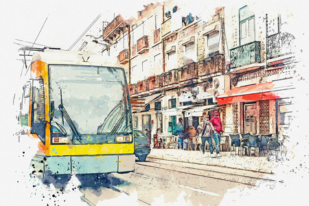 Sketch with watercolor or illustration of a traditional tram moving down the street in Lisbon in Portugal.
