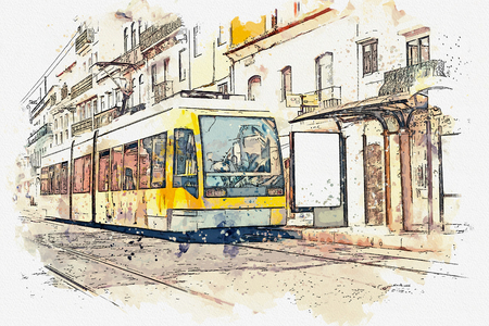 Sketch with watercolor or illustration of a traditional tram moving down the street in Lisbon in Portugal. Stock Photo