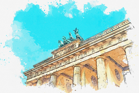 A watercolor sketch or illustration of the Brandenburg gate in Berlin, Germany. Architectural monument in historic center of Berlin.