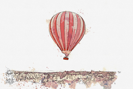 A watercolor sketch or illustration. Hot air balloon in the sky in Kapadokia in Turkey. The famous tourist attraction of Cappadocia is an air flight. Stock Photo