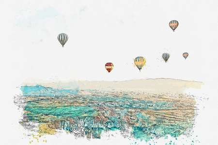 A watercolor sketch or illustration. The famous tourist attraction of Cappadocia is an air flight. Cappadocia, Turkey.