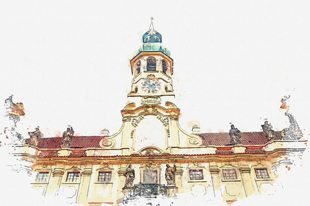 A watercolor sketch or illustration of the catholic church of the Nativity of the Lord. Prague Loreta in Prague in Czech Republic Imagens