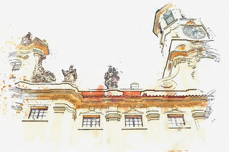 A watercolor sketch or illustration of the catholic church of the Nativity of the Lord. Prague Loreta in Prague in Czech Republic Stock Photo