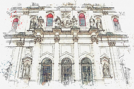 illustration Basilica da Estrela cathedral in Lisbon, Portugal. Catholic cathedral and west Christianity. Architectural sight in historic center in Baroque and classicism style.