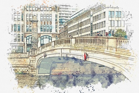 A watercolor sketch or an illustration. Traditional architecture in Berlin in Germany. Street with bridge and buildings.