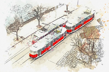 Sketch with watercolor or illustration of a traditional old trams moving down the street in Prague in the Czech Republic.