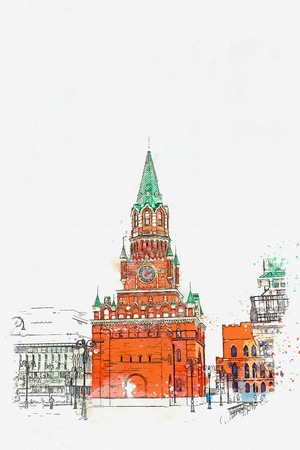 A watercolor sketch or an illustration. Kremlin in Russia. Traditional Russian architecture. Stock Photo