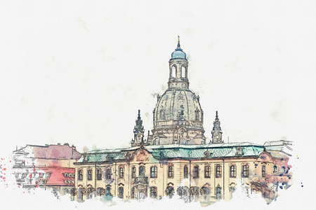 A watercolor sketch or illustration. Germany. Dresden architecture. City landmark
