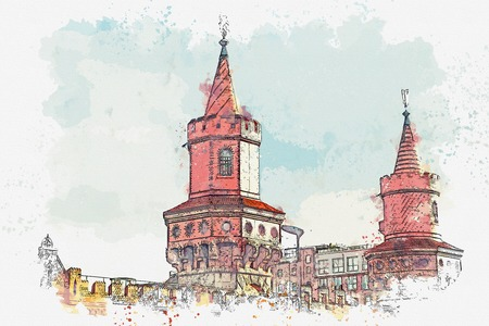 A watercolor sketch or an illustration. The architecture of Berlin. View of the bridge over the river.