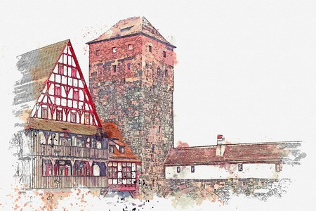 A watercolor sketch or an illustration of traditional German architecture in Nuremberg in Germany. Landmark executioner house.