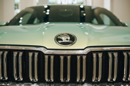 Berlin, August 29, 2018: Close-up front part of a new car Skoda Vision S. Skoda emblem. Editorial