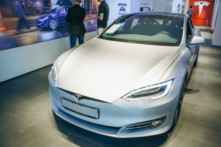 Berlin, August 29, 2018: An electric vehicle Tesla S at the Tesla motor show in Berlin. A modern electric car. Editorial