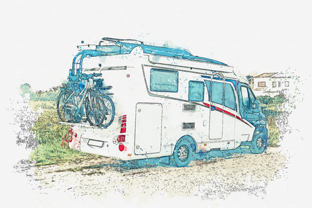A watercolor sketch or an illustration. A motor home or a house on wheels is parked on the side of the road. Road trip or traveling by car. Stock Photo