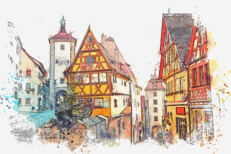 A watercolor sketch or illustration of a beautiful street in Rothenburg ob der Tauber in Germany with beautiful houses in German style during the Christmas holidays.