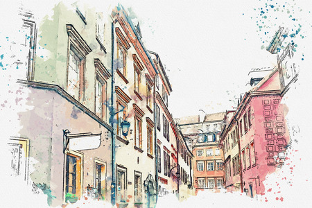 A watercolor sketch or illustration of a traditional street with apartment buildings in Warsaw, Poland. Stock Photo