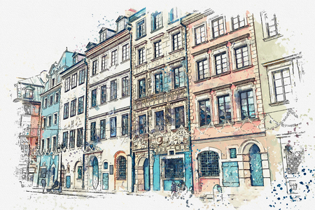 A watercolor sketch or illustration of a traditional street with apartment buildings in Warsaw, Poland. 版權商用圖片
