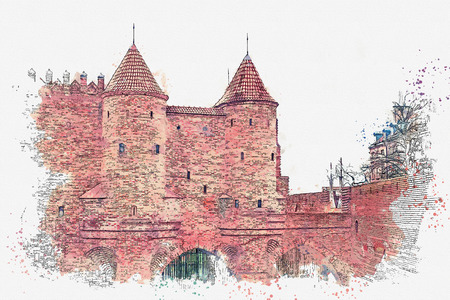 illustration or watercolor sketch. Historic Warsaw Barbican in the Warsaw Old Town.