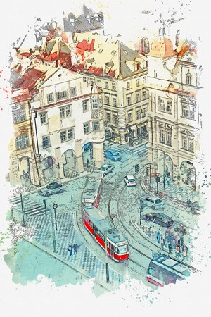 Watercolor sketch or illustration of the view on the ancient architecture of Prague. City street with road, cars and people. Daily life.