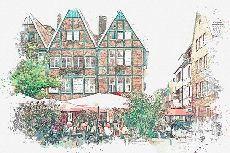 Watercolor sketch or illustration of traditional German architecture and street cafe in Muenster in Germany. People relax, eat and communicate with each other.