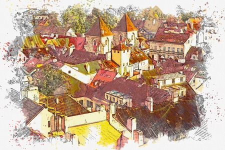 illustration or watercolor sketch. Traditional old architecture in Prague in the Czech Republic. European architecture. Stock Photo