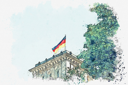 Watercolor sketch or illustration. German flag over the Reichstag building in Berlin. Stock Photo